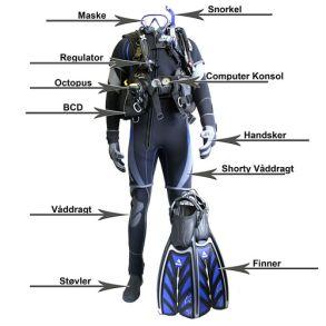 Komplet dykkerudstyr